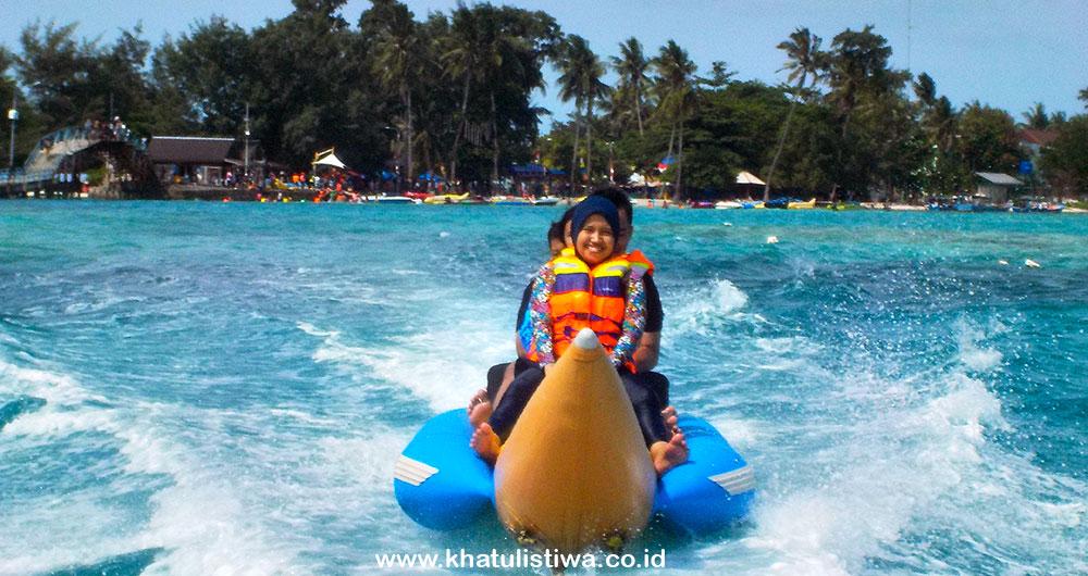 free banana boat untuk semua paket wisata pulau tidung
